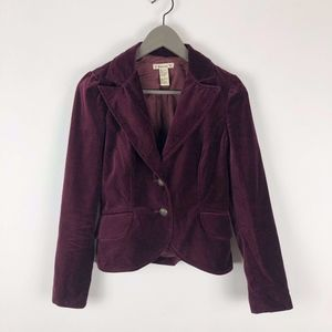 Forever 21 Burgundy Velvet 2 Button Blazer Jacket